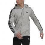 Adidas Mens Essentials Fleece 3-Stripes Full-Zip Hoodie - Medium Grey Heather Adidas Mens Essentials Fleece 3-Stripes Full-Zip Hoodie - Medium Grey Heather