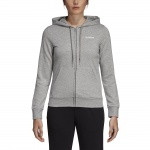 Adidas Women's Essentials Solid Full Zip Hoodie - Medium Grey Heather/White Adidas Women's Essentials Solid Full Zip Hoodie - Medium Grey Heather/White