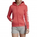Adidas Women's Essentials Linear Full Zip Hoodie - prism pink/white Adidas Women's Essentials Linear Full Zip Hoodie - prism pink/white