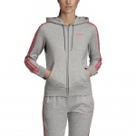 Adidas Women's Essentials 3Stripes Full Zip Hoodie - medium grey heather/prism pink Adidas Women's Essentials 3Stripes Full Zip Hoodie - medium grey heather/prism pink