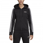 Adidas Women's Essentials 3-Stripes Full Zip Hoodie - black/white Adidas Women's Essentials 3-Stripes Full Zip Hoodie - black/white