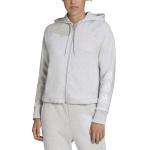 Adidas Womens Stacked Logo Full-Zip Fleece Hoodie - Light Grey Heather Adidas Womens Stacked Logo Full-Zip Fleece Hoodie - Light Grey Heather