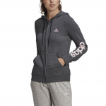 Adidas Womens Essentials Logo Full-Zip Hoodie - Dark Grey Heather/Clear Pink Adidas Womens Essentials Logo Full-Zip Hoodie - Dark Grey Heather/Clear Pink