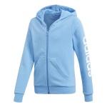 Adidas Girls Essentials Linear Full Zip Hoodie - lucky blue/white Adidas Girls Essentials Linear Full Zip Hoodie - lucky blue/white