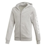 Adidas Girls Essentials Linear Full Zip Hoodie - medium grey heather/white Adidas Girls Essentials Linear Full Zip Hoodie - medium grey heather/white