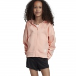 ADIDAS Girl's Must Haves Doubleknit 3-Stripe Full Zip Hoodie - glow pink/white ADIDAS Girl's Must Haves Doubleknit 3-Stripe Full Zip Hoodie - glow pink/white