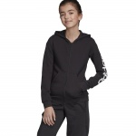 ADIDAS Girls Essentials Linear Full Zip Hoodie - black/white ADIDAS Girls Essentials Linear Full Zip Hoodie - black/white