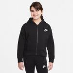 Nike Girls Sportswear Club Fleece Hoodie - BLACK/WHITE Nike Girls Sportswear Club Fleece Hoodie - BLACK/WHITE