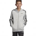 Adidas Boys Essentials 3 Stripes Full Zip Hoodie - Medium Grey Heather/Black Adidas Boys Essentials 3 Stripes Full Zip Hoodie - Medium Grey Heather/Black