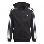 Adidas Boys Essentials 3-Stripes Full Zip Hoodie - BLACK/WHITE Adidas Boys Essentials 3-Stripes Full Zip Hoodie - BLACK/WHITE