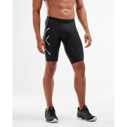 2XU Men's TR2 Compression Shorts - BLACK/SILVER