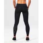 Image 2: 2XU Women's Mid Rise Compression Long Tights - Black/Dotted Reflective Logo