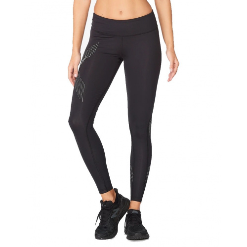 2XU Women's Mid Rise Compression Long Tights - Black/Dotted Reflective Logo