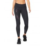 2XU Womens Mid Rise Compression Long Tight - Black/Cranberry 2XU Womens Mid Rise Compression Long Tight - Black/Cranberry