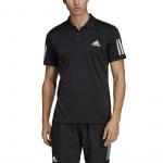 Adidas Mens 3-Stripes Club Tennis Polo Shirt - BLACK/WHITE Adidas Mens 3-Stripes Club Tennis Polo Shirt - BLACK/WHITE
