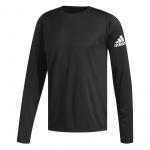 Adidas Mens FreeLift Sport Badge of Sport Long Sleeve Running Top - BLACK Adidas Mens FreeLift Sport Badge of Sport Long Sleeve Running Top - BLACK