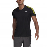 Adidas Mens Own The Run 3-Stripes Running Tee - Black/Black/Acid Yellow Adidas Mens Own The Run 3-Stripes Running Tee - Black/Black/Acid Yellow