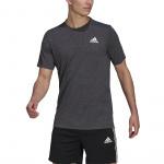 Adidas Mens Designed 2 Move Heathered Sport Tee - Black Melange/White Adidas Mens Designed 2 Move Heathered Sport Tee - Black Melange/White