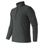 New Balance Men's Core Space Dye Quarter Zip Running Top - Black with Grey New Balance Men's Core Space Dye Quarter Zip Running Top - Black with Grey