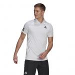 Adidas Mens 3-Stripes Club Tennis Polo Shirt - White/Black Adidas Mens 3-Stripes Club Tennis Polo Shirt - White/Black