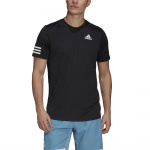 Adidas Mens Club Tennis 3-Stripes Tee - Black/White Adidas Mens Club Tennis 3-Stripes Tee - Black/White