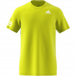 Adidas Mens Club 3-Stripe Tennis T-Shirt - Acid Yellow/White Adidas Mens Club 3-Stripe Tennis T-Shirt - Acid Yellow/White