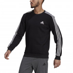 Adidas Mens Essentials Fleece 3-Stripes Sweatshirt - Black/White Adidas Mens Essentials Fleece 3-Stripes Sweatshirt - Black/White