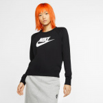 Nike Women's Sportswear Essential Fleece Crew - BLACK/WHITE Nike Women's Sportswear Essential Fleece Crew - BLACK/WHITE