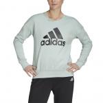 Adidas Womens Badge of Sport Crew Sweatshirt - Green Tint Adidas Womens Badge of Sport Crew Sweatshirt - Green Tint