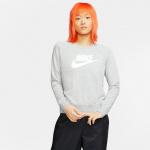 Nike Womens Sportswear Essential Fleece Crew - DK GREY HEATHER/WHITE Nike Womens Sportswear Essential Fleece Crew - DK GREY HEATHER/WHITE