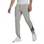 Adidas Mens Essentials Fleece Tapered Cuff Logo Pant - Medium Grey Heather/Black Adidas Mens Essentials Fleece Tapered Cuff Logo Pant - Medium Grey Heather/Black